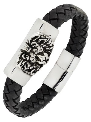 Punk lion high quality braided 100% genuine leather 316l stainless steel wrist band bracelet for men