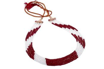 FIVE STRINGS WHITE & MAROON COLOUR CRYSTAL MALA FROM HYDERABAD -