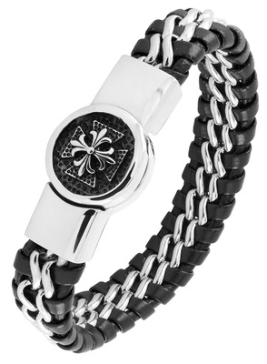 Victorian punk high quality braided 100% genuine leather 316l stainless steel wrist band bracelet men