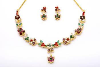 LILY NECKLACE SET WITH EARRINGS (NAVRATNA) -
