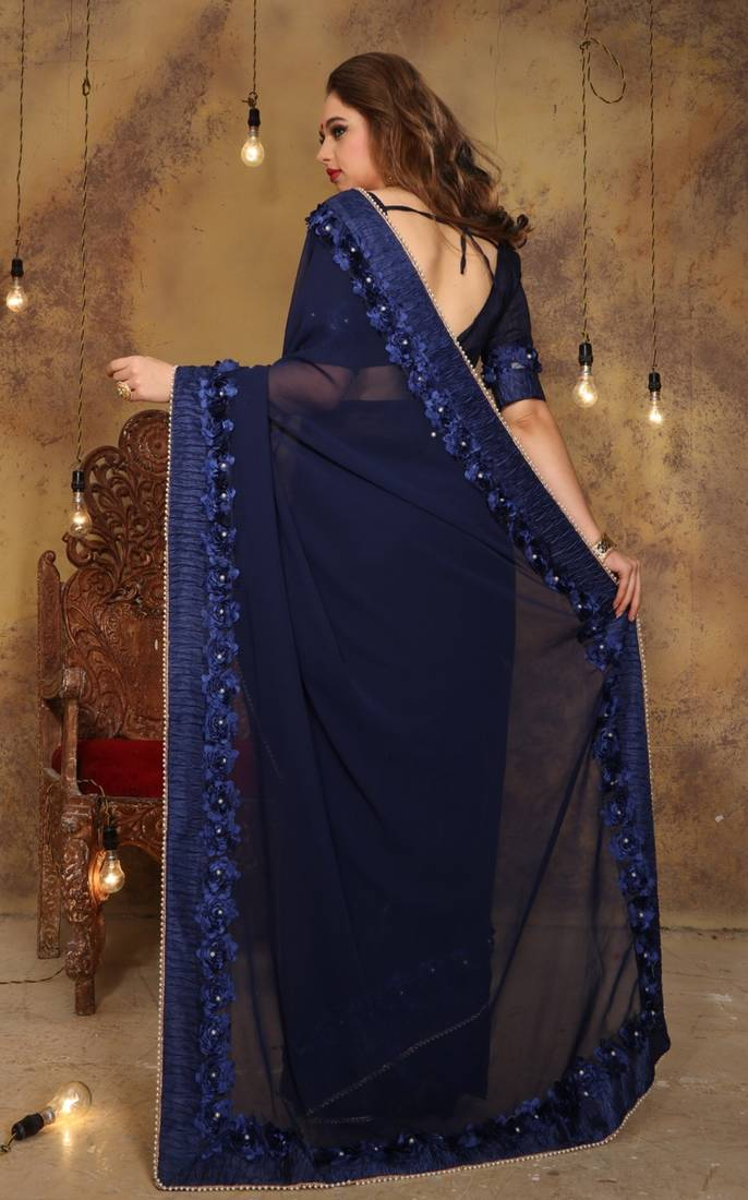 3af1e4bd699edd Navy blue plain georgette saree with blouse - Trishulom Cloth's ...