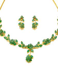 Buy LILY NECKLACE SET WITH EARRINGS (EMRALD) - necklace-set online