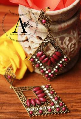 Eligant Royal Purple chandelier Crystals & Gemstone earrings, Antique Ethnic Collection