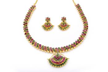 BELL NECKLACE SET WITH EARRINGS (RUBY EMRALD) -
