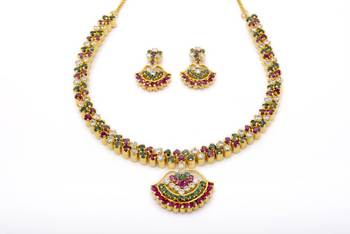 BELL NECKLACE SET WITH EARRINGS (AD RUBY EMRALD) -