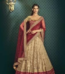 Buy Beige embroidered net unstitched lehenga with dupatta lehenga-choli online