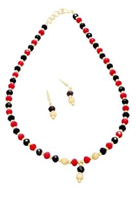 ELEGANT SINGLE LINE CRYSTAL MALA WITH HANGINGS (RED BLACK) -
