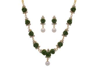 BEAUTIFUL FLOWER CORAL NECKLACE SET WITH EARRINGS (HEENA GREEN) -