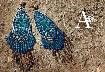 Fairy Tale Turquiose Crystals Leaf Shape Taco Shell Earrings, Golden Lining BLue Gemstone Studded