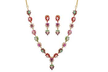 SIMPLE & SOBER STONE STUDDED NECKLACE SET WITH EARRING (NAVRATNA)
