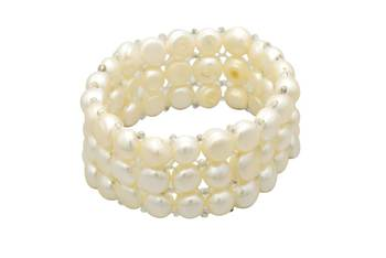 ELEGANT TRIPLE STRING STRETCHABLE BUTTON PEARLS BRACELET FROM HYDERABAD -