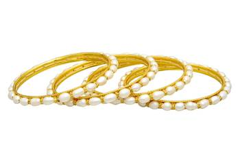 SINGLE LINE REAL SEED PEARLS & CHAKRI BANGLES SET FROM HYDERABAD (4PCs) -