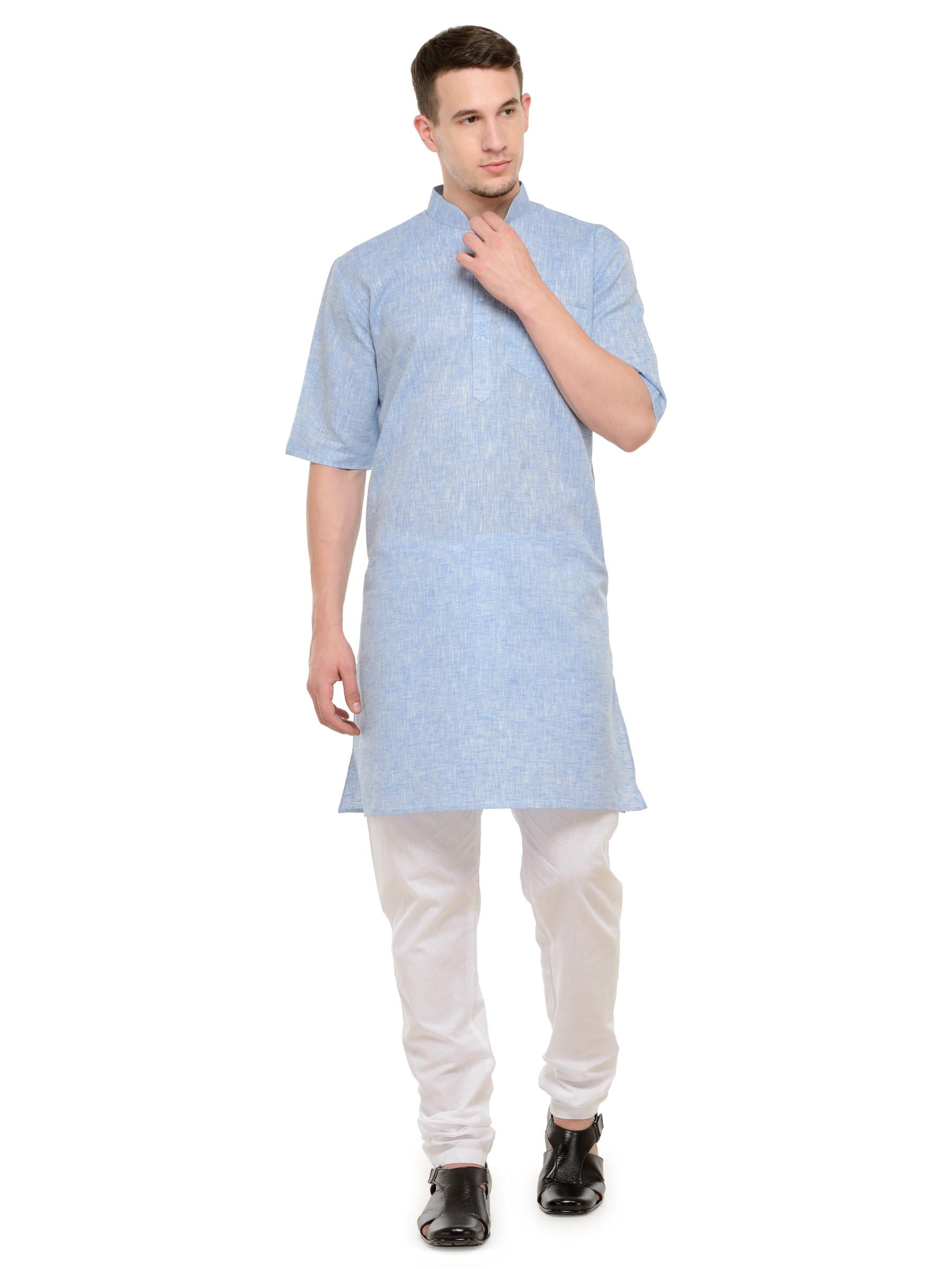 2be734ac2c Light Blue and White Modi Kurta and Pyjama Set For Men - RG Designers -  2157848