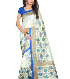 Buy Multicolor printed bhagalpuri cotton saree with blouse below-500 online