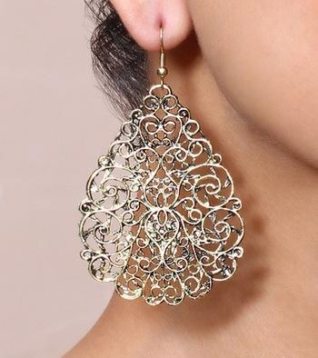 Gold Stencil Filigree Earrings
