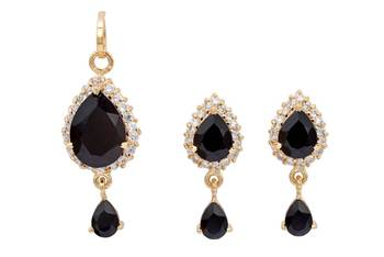 EXOTIC STONE STUDDED PAAN LOCKET SET WITH EARRINGS (AD BLACK) -