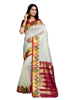 Cream festive saree with blouse