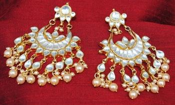 Polki Diamond Pearl Chand Bali Earrings