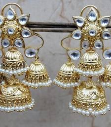 Floral Gold Polki Diamond Pearl Studded Jhumka Earrings