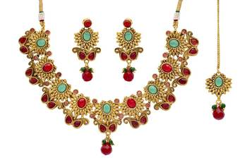 ANTIQUE GOLDEN STONE STUDDED FLOWER THEME STYLE NECKLACE SET (RED GREEN)  -