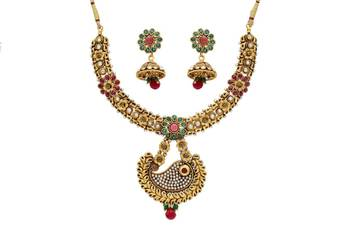 ANTIQUE GOLDEN STONE STUDDED FLOWER THEME KAIRI STYLE NECKLACE SET (AD RED GREEN)  -