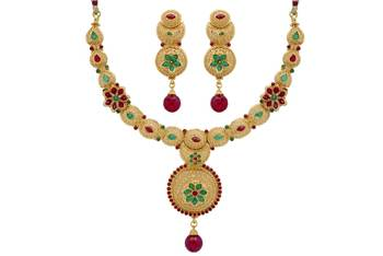ANTIQUE GOLDEN STONE STUDDED ROYAL HANDMADE FLOWER THEME NECKLACE SET (RED GREEN)  -