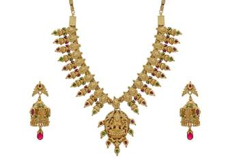 ANTIQUE GOLDEN STONE STUDDED TRADITIONAL TEMPLE THEM NECKLACE SET(RED GREEN) -
