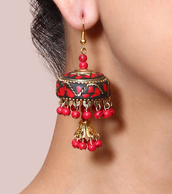 Red Lac Double Jhumki