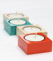 Buy Square wooden Tea light candles - set of 4 candle online