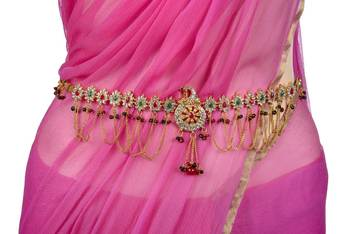 ANTIQUE GOLDEN STONE STUDDED PEACOCK THEME WAIST BELT/VADIYALAM (AD RED GREEN) -