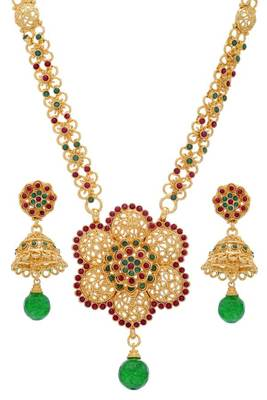 ROYAL TRADITIONAL HANDMADE FLOWER THEME LONG SET (RED GREEN)  -
