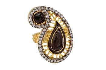 ANTIQUE GOLDEN KAIRI THEME STYLE ADJUSTABLE SIZE FINGER RING (BLACK)  -