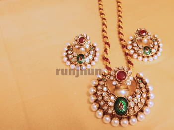 round pearl and polki pendent set with resham dori