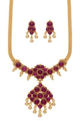 ROYAL TRADITIONAL ANTIQUE REAL KEMPO STONE STUDDED HANDCRAFTED NECKLACE SET  (RED) -
