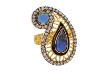 ANTIQUE GOLDEN KAIRI THEME STYLE ADJUSTABLE SIZE FINGER RING (SAPPHIRE)  -