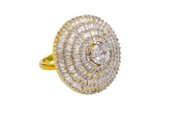 AD STONE STUDDED ROYAL ELEGANT ADJUSTABLE SIZE FINGER RING (AD)  -