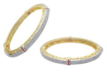 AD STONE STUDDED CUBIC ZIRCONIA BANGALES SET (2 PC)(AD RED) - PC