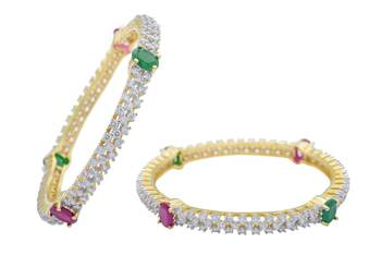 AD STONE STUDDED CUBIC ZIRCONIA BANGALES SET (AD RED GREEN) - PC