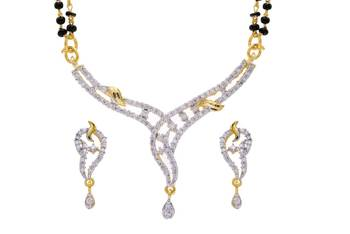 TRADITIONAL AD STONE STUDDED CUBIC ZIRCONIA MANGALSUTRA (AD) - P