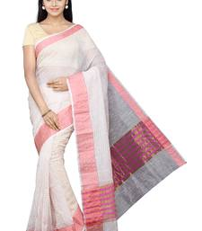 Buy Beige plain cotton saree with blouse cotton-saree online