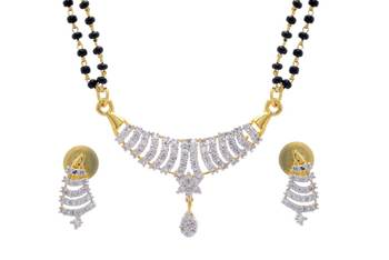 TRADITIONAL AD STONE STUDDED CUBIC ZIRCONIA MANGALSUTRA(AD) - P