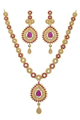 ROYAL AD STONE STUDDED HANDMADE NECKLACE SET (AD RED)  - PC