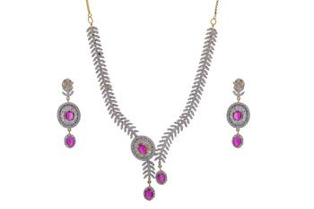 ROYAL AD STONE STUDDED CUBIC ZARCONIA NECKLACE SET (AD RUBY) - PC