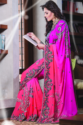 Peach & pink georgette designer saree with zari work in pallu-SR5710