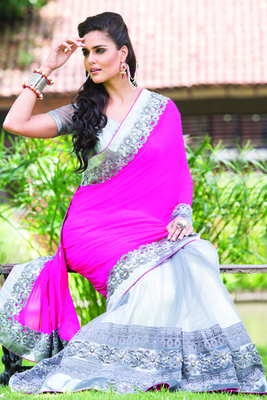 Grey net half & half saree in shimmering silver border-SR5714