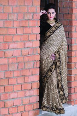 Dull gold georgette designer saree in black velvet border-SR5715