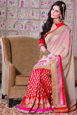 Red raw silk weaved designer saree with multi colour border-SR5717