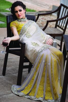 White net half & half designer saree with thread work-SR5724