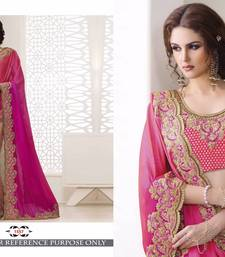 Buy Pink color embroidered georgette semi stitched bridal saree with blouse georgette-saree online