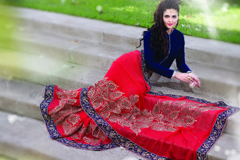 Red Pure Georgette zari worked saree in royal blue border-SR5725